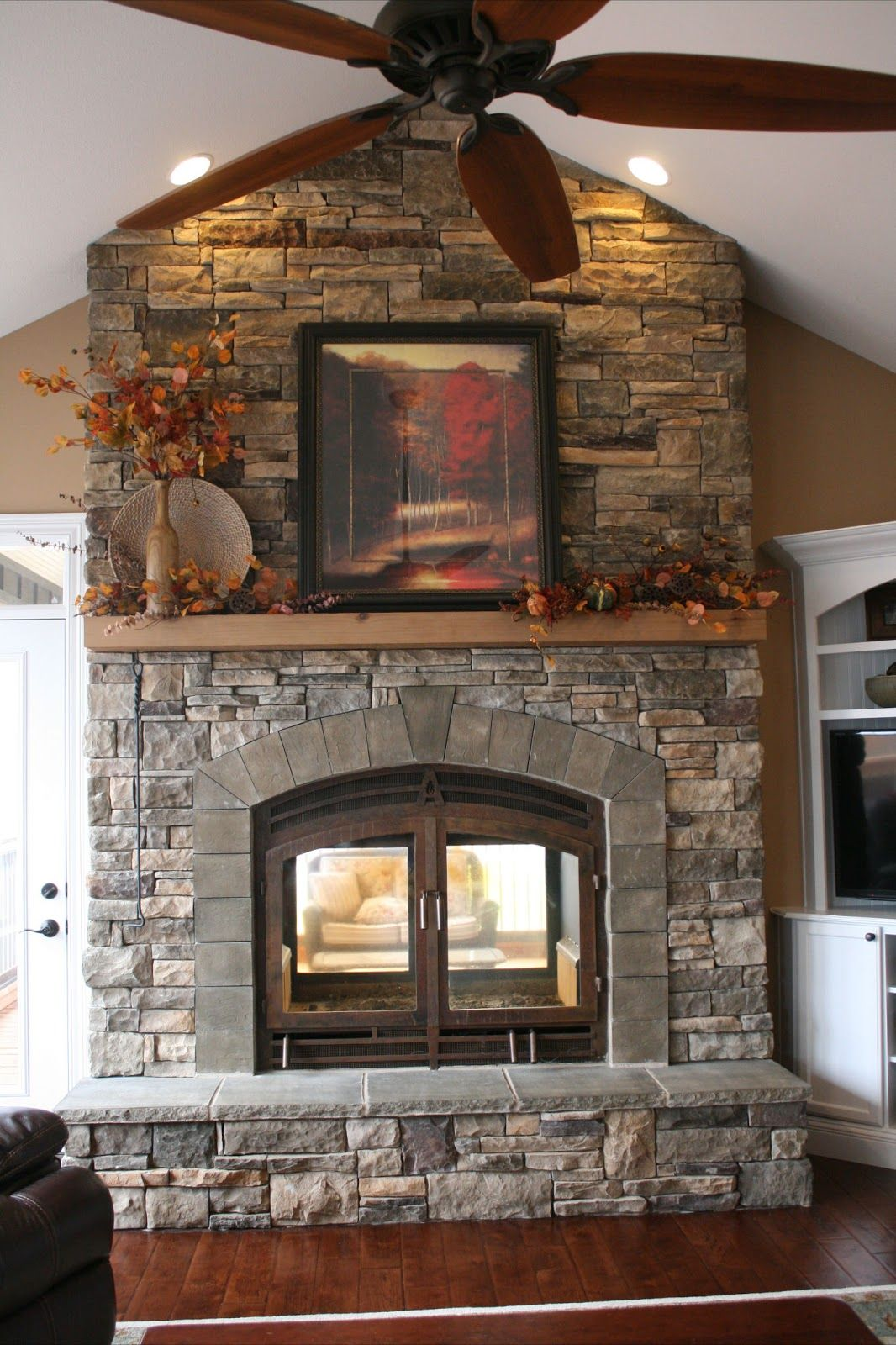 Our seethrough fireplace system is viewable from two sides and made