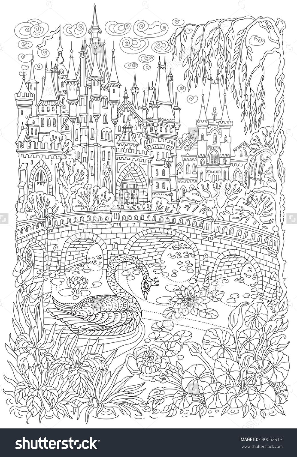 Fantasy Landscape Fairy Tale Castle Stylized Swan Bird Lake Medieval Stone Bridge Coloring Book Page For Adults