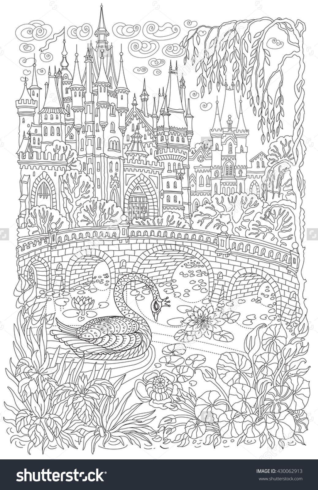 Fantasy Landscape. Fairy Tale Castle, Stylized Swan Bird, Lake ...