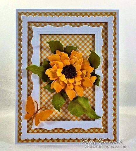 Kittie Caracciolo created this beautiful card featuring the Garden Notes - Sunflower. She created the flower just perfect! For more information, visit Kittie's blog here: http://www.kittiekraft.com/2015/03/susans-garden-notes-sunflower.html