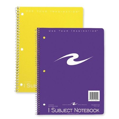 "Spiral Bound Notebook, 1-Sub, Cllg Ruled, 10-1/2""x8"", 3"