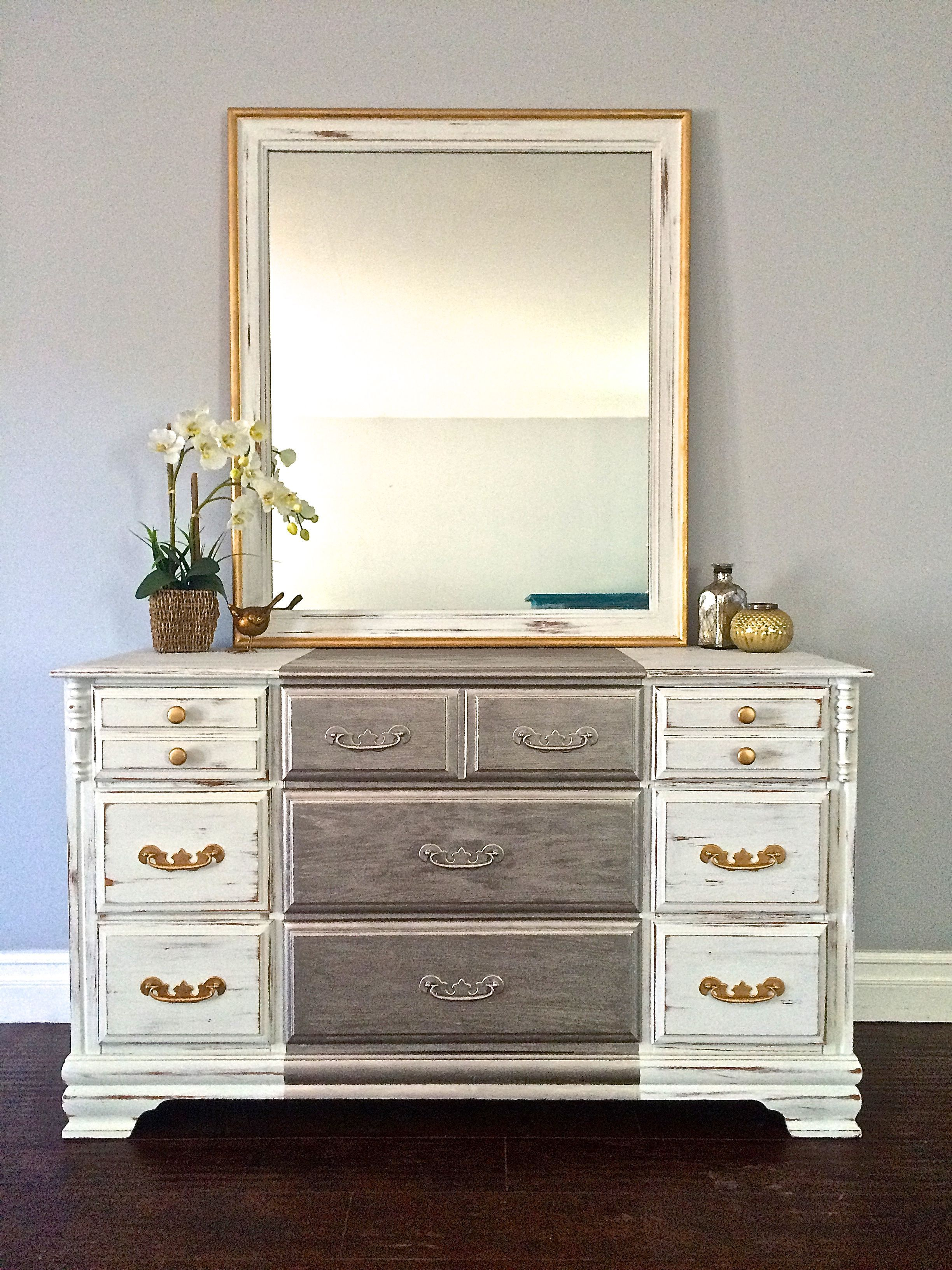 Shabby Chic White Silver & Gold Leaf 9 Drawer Dresser w Mirror