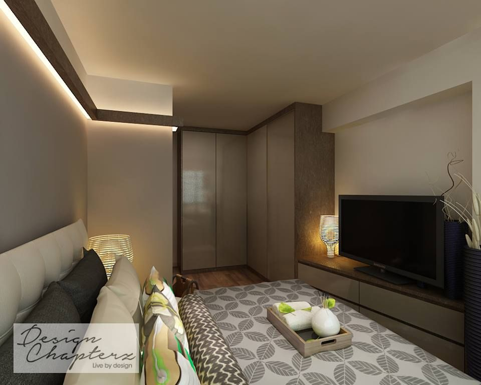 Design Chapterz Modern Contemporary Wooden Touch Master Bedroom - L shaped master bedroom designs