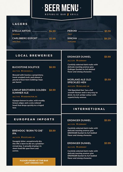 Free Beer Menu Flyer Template - http\/\/freepsdflyer\/free-beer - beer menu