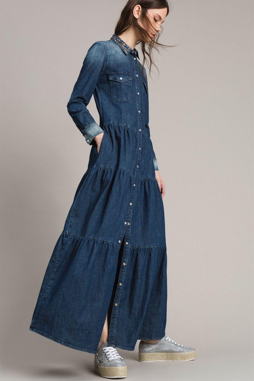 my twin damen maxi jeanskleid denim blau 6 | jeans kleid