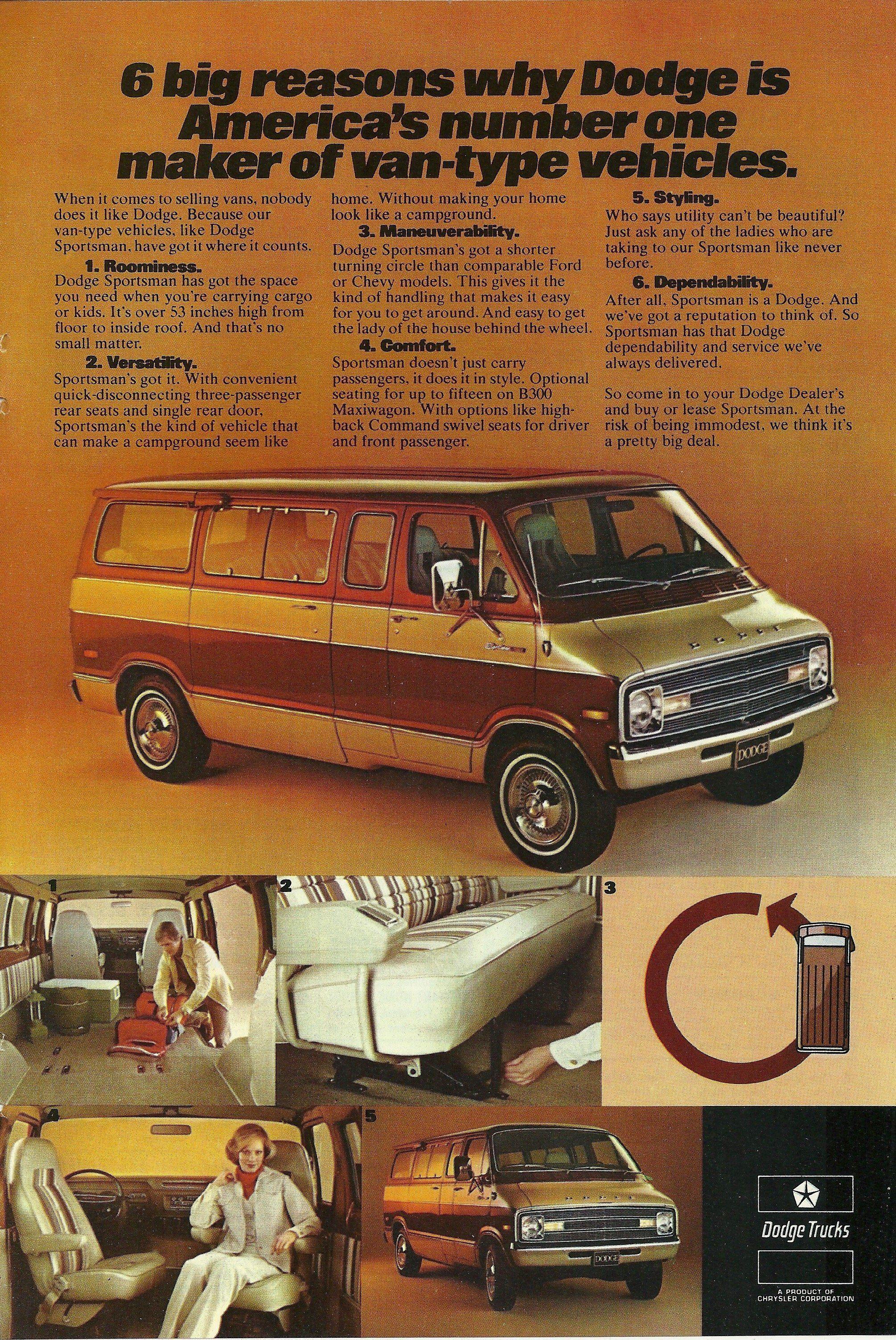 1977 Dodge Sportsman Van Vintage Print Ad | Old car/truck