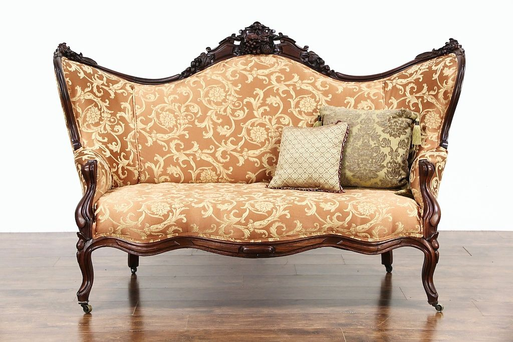 French Marquise Antique Bench Furniture Vintage Tufted