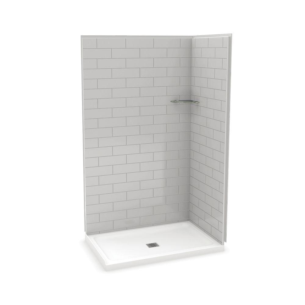 Utile By Maax 32 In X 48 83 5 Corner Shower Kit With Base Metro Soft Grey