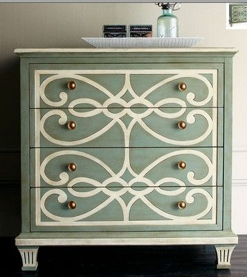 Upcycle with white design and gorgeous new knobs...check out the detailing on the dresser feet!  absolutely beautiful!
