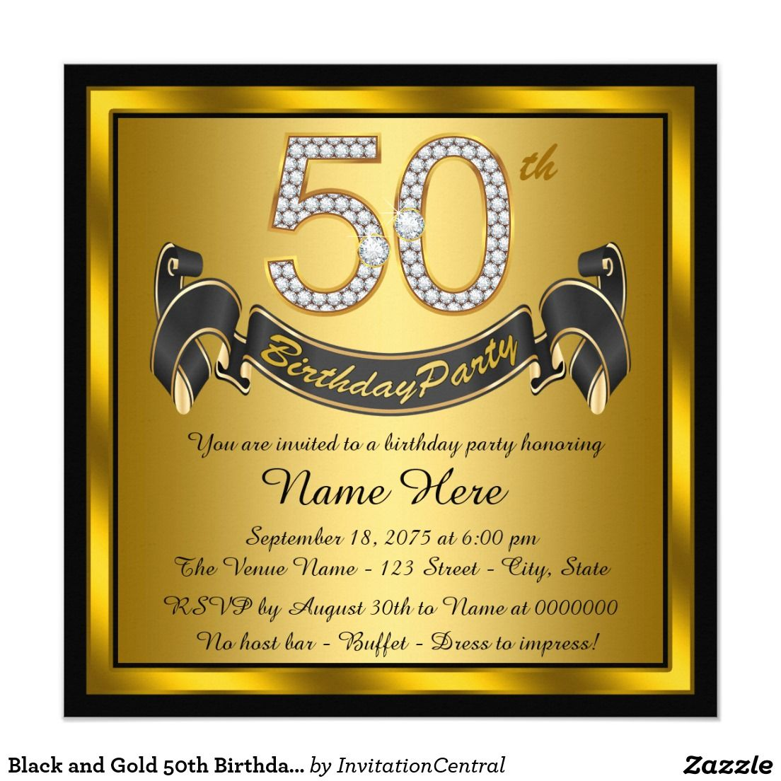 Black and Gold 50th Birthday Party Card | 50 birthday parties ...