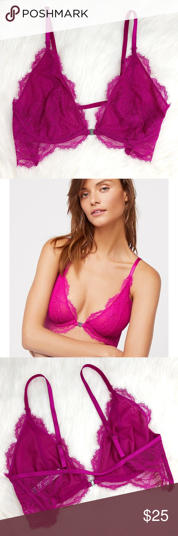 3852742541f Free People You're So Great Bra 36C Intimately Free People fuchsia / pink  lace underwire bra / bralette. Open back. Front clasp. Like new condition.