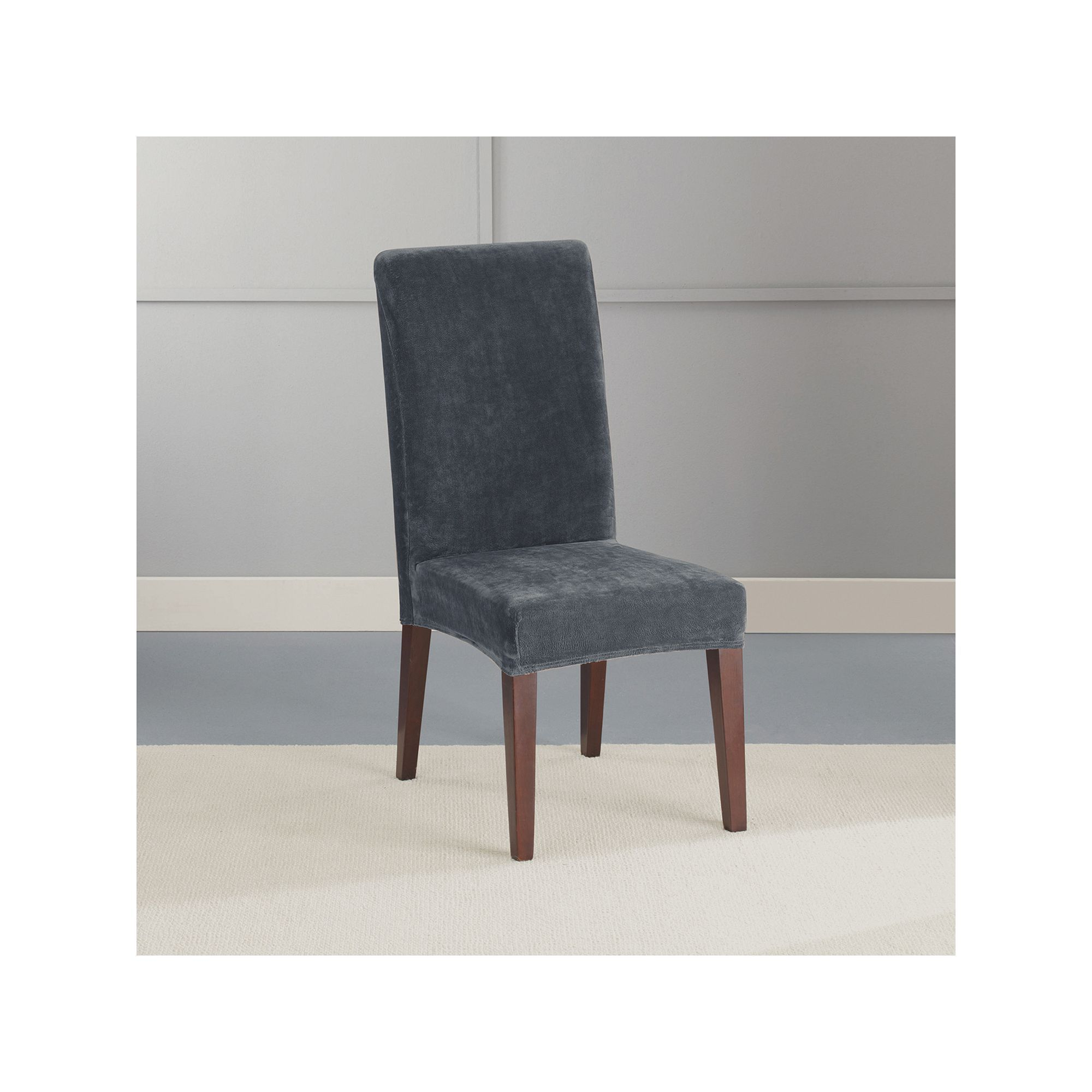 Sure Fit Stretch Plush Short Dining Room Chair Slipcover Brown