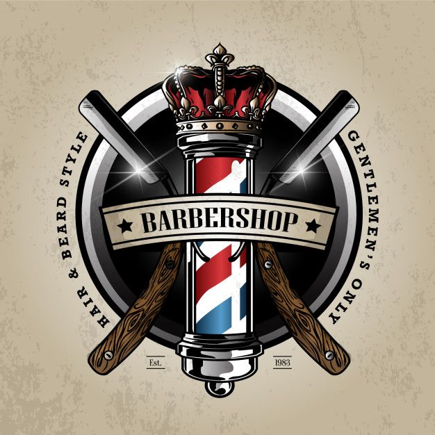 Barber pole logo Premium Vector | Premium Vector #Freepik #vector #background #logo #vintage #hand