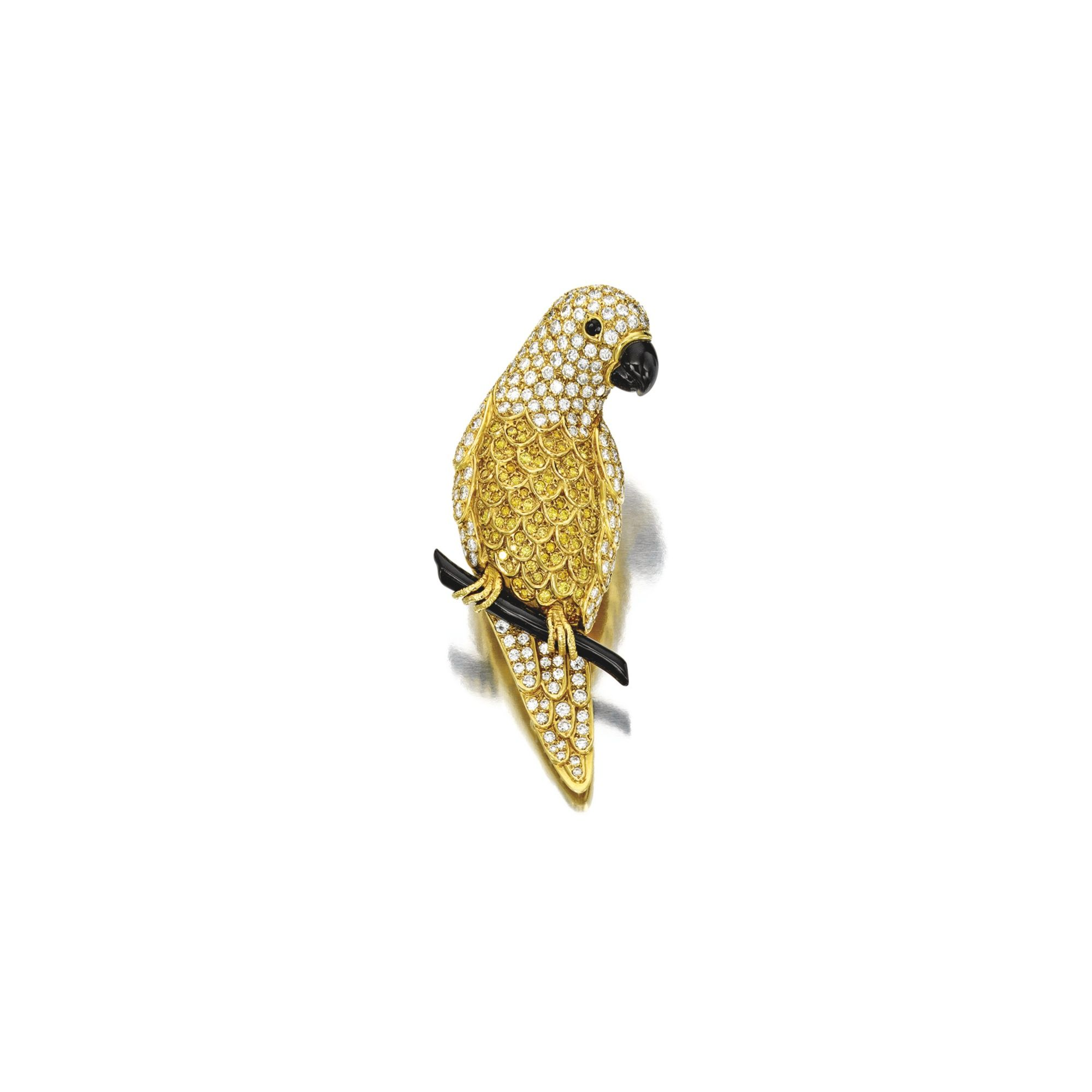 Van cleef amp arpels vca 18k yellow gold ruby cabochon amp diamond - Diamond And Onyx Clip Brooch Van Cleef Arpels Designed As A Parrot Resting On
