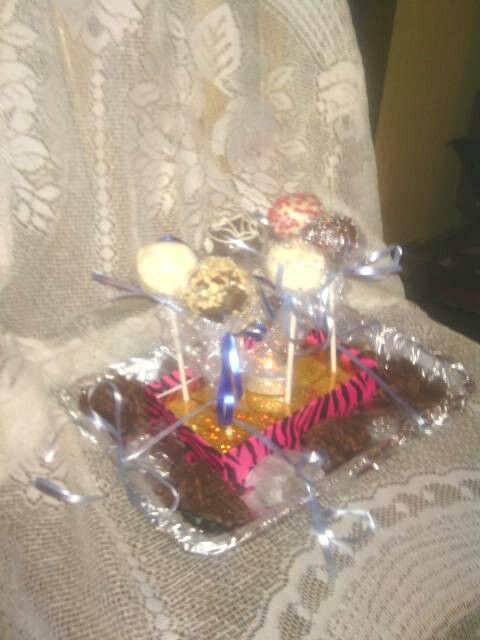 I madd these cake pops and some other candy. For jamie and Jenn's birth of their new baby.