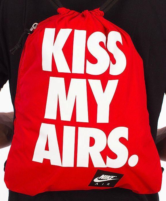 prima Ellos Plano  Nike Sports Kiss My Airs Gym Yoga Unisex Drawstring Bag Sack Backpack Red  NWT #Nike #Gymbag