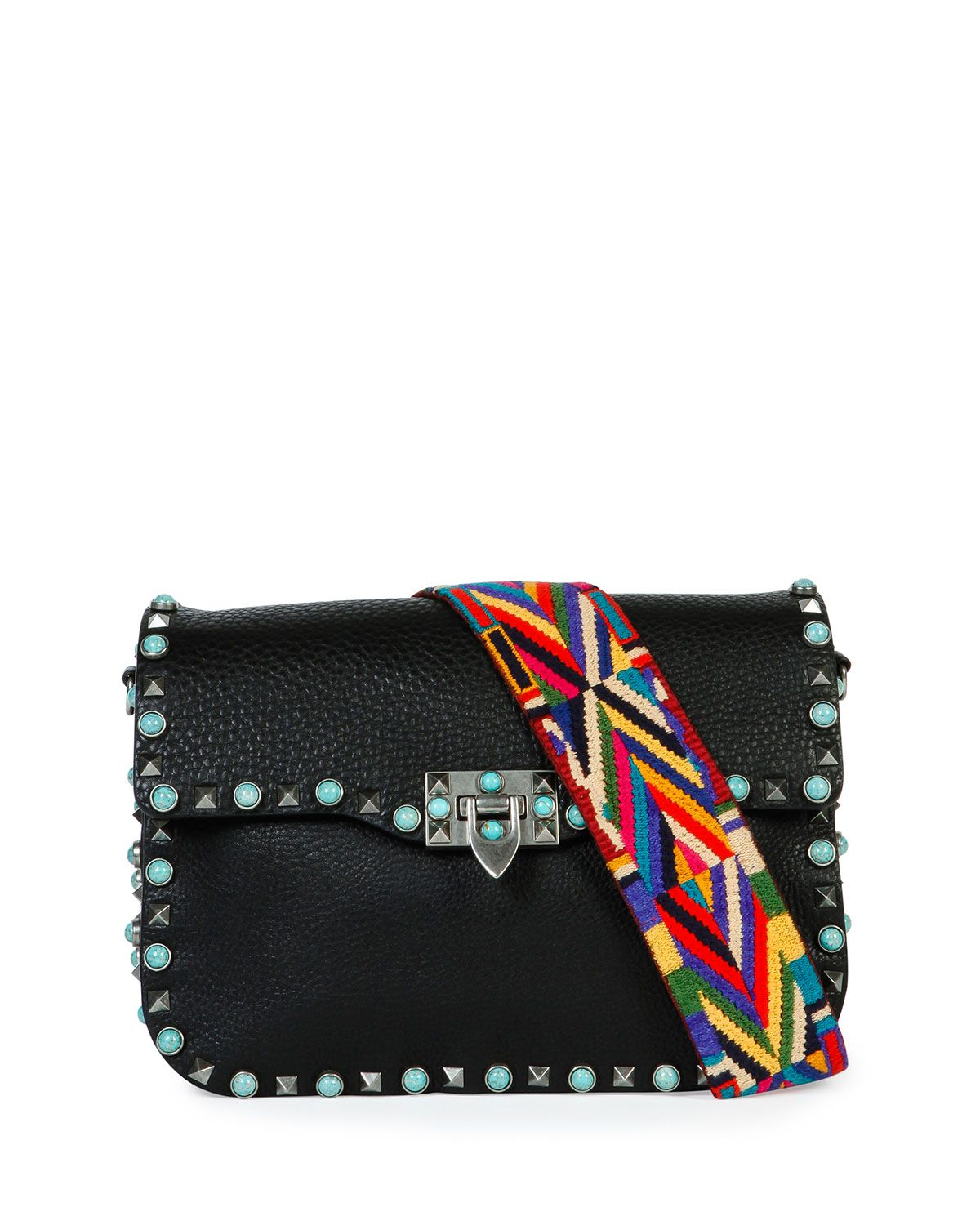 8e35bf068 Valentino Black with Turquoise Studs Rockstud Saddle Bag with Embroidered  Strap