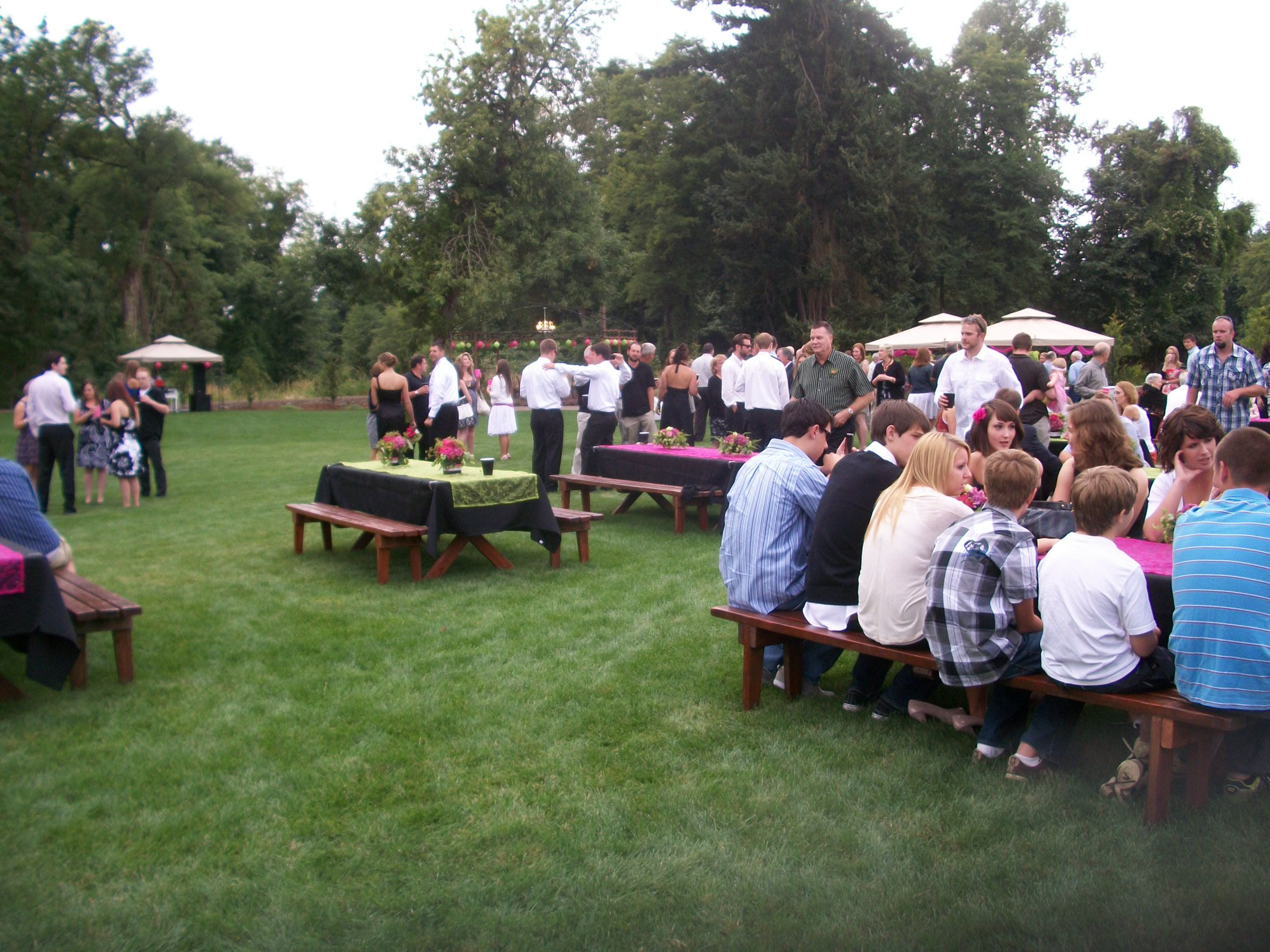 Elegant Wedding With Picnic Tables And Benches | ... Picnic Tables (  Covered With