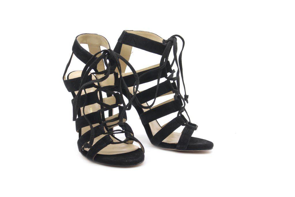 ad28f1650aa 4 Inch Heels - Black Suede Strappy Sandals - Angelina Voloshina - AV Heels  - 5