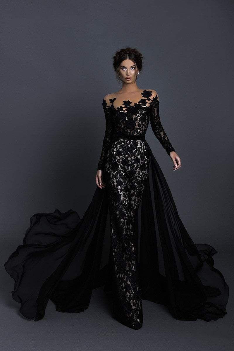 Tarik Ediz 93630 Floral Long Sleeves Jumpsuit With Train Black Wedding Gowns Black Wedding Dresses Dresses [ 1200 x 800 Pixel ]