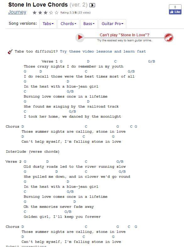 Stone In Love By Journey Chords And Lyrics Ukulele Pinterest