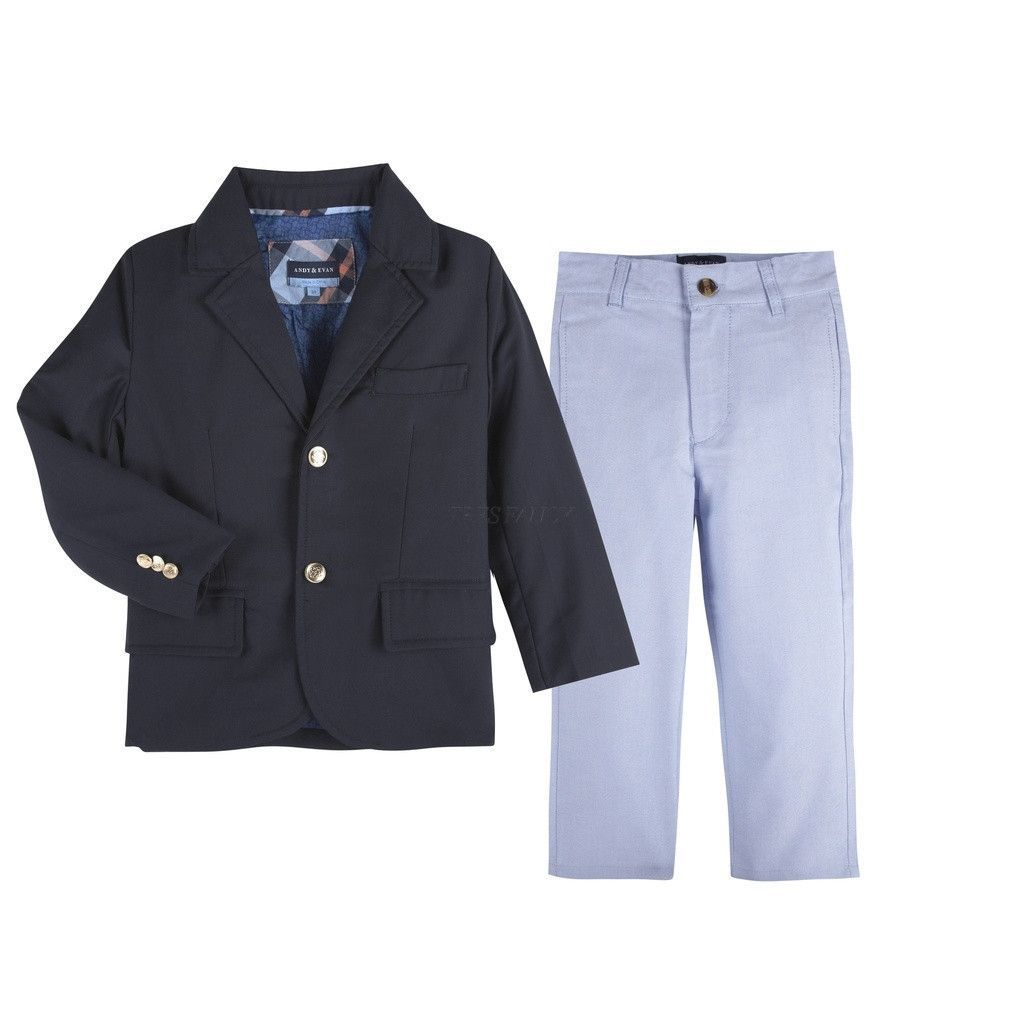 Navy Twill Blazer & Light Blue Oxford Pant Set