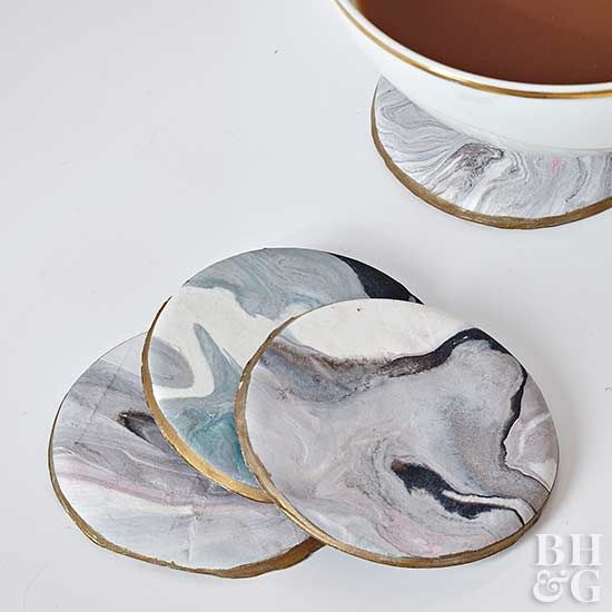 How to Make a Marbled Clay Coaster