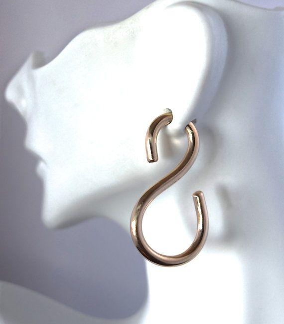 8 Gauge Gold S Earrings by SilverSunStudio on Etsy