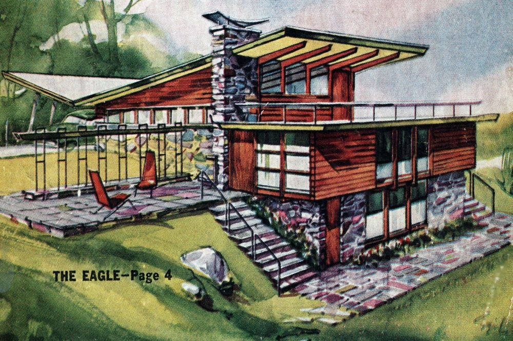 1954 LOW COST HOMES Ranch Split Ranch Expansion Attics Mid Century Modern  Atomic