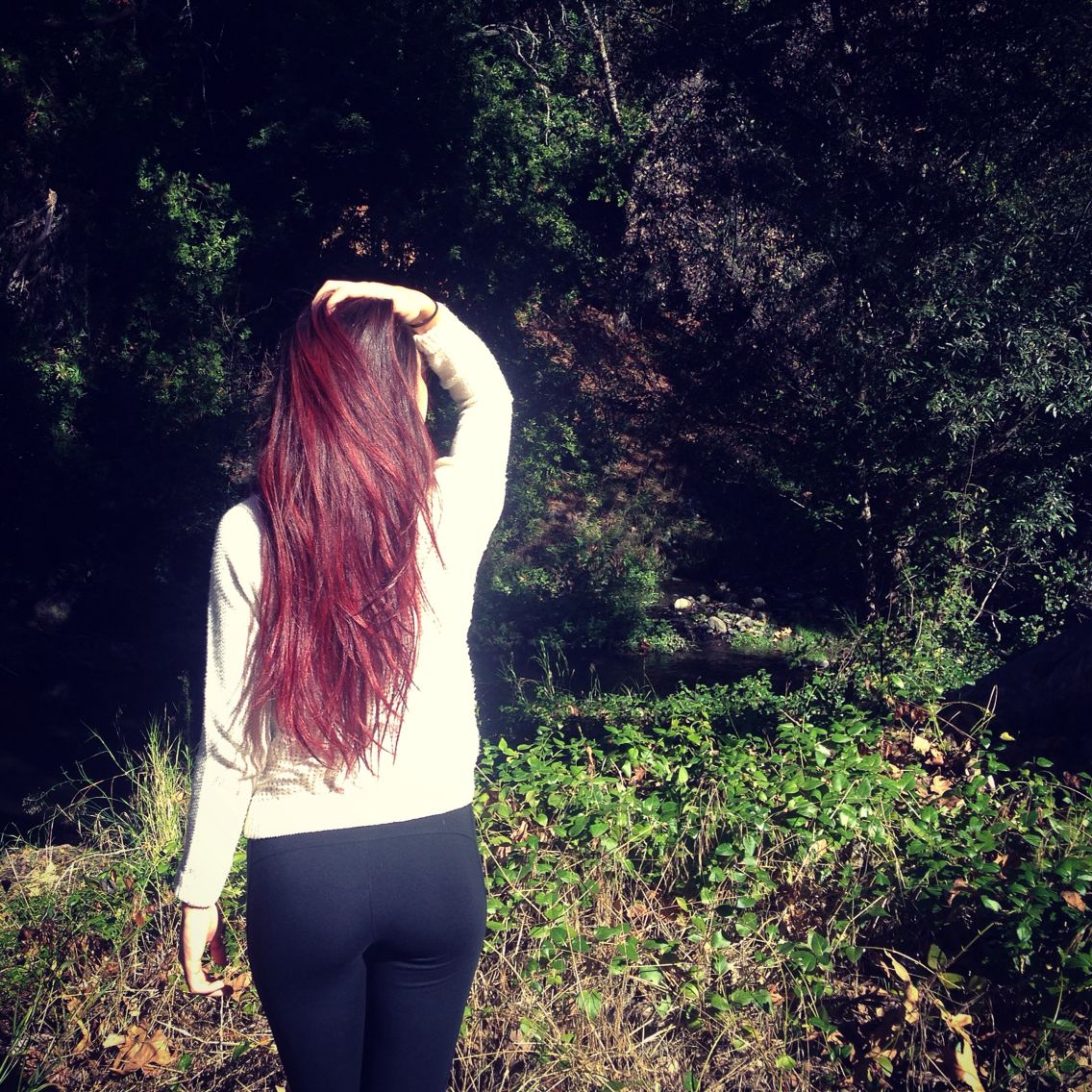 My hair after I dyed it using Henna Color Lab's wine red