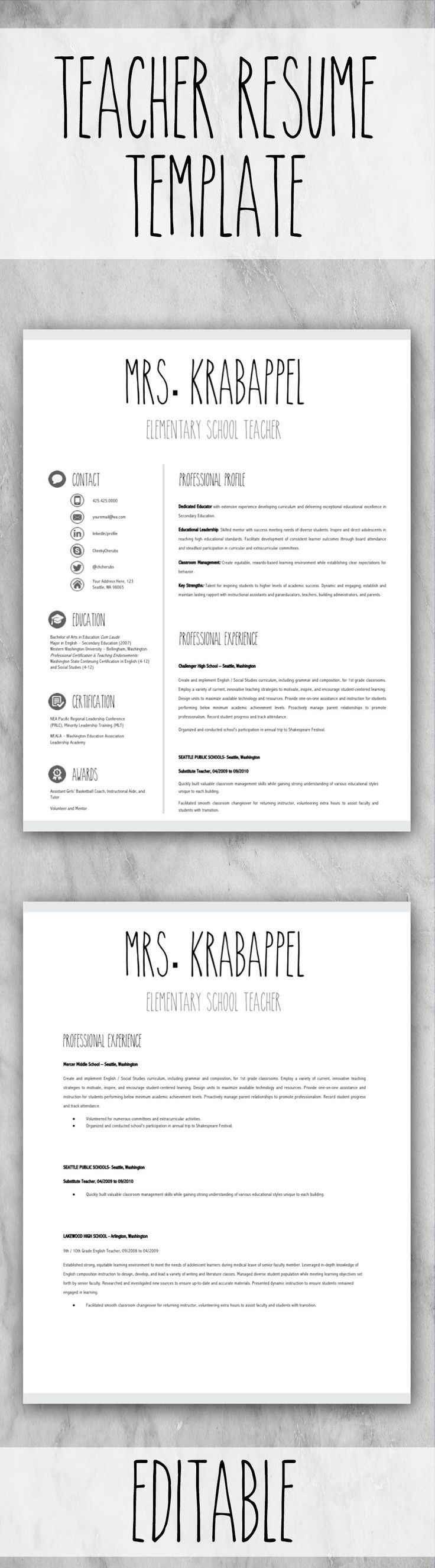 EDITABLE Teacher Resume Template for MS PowerPoint and Google Slides ...