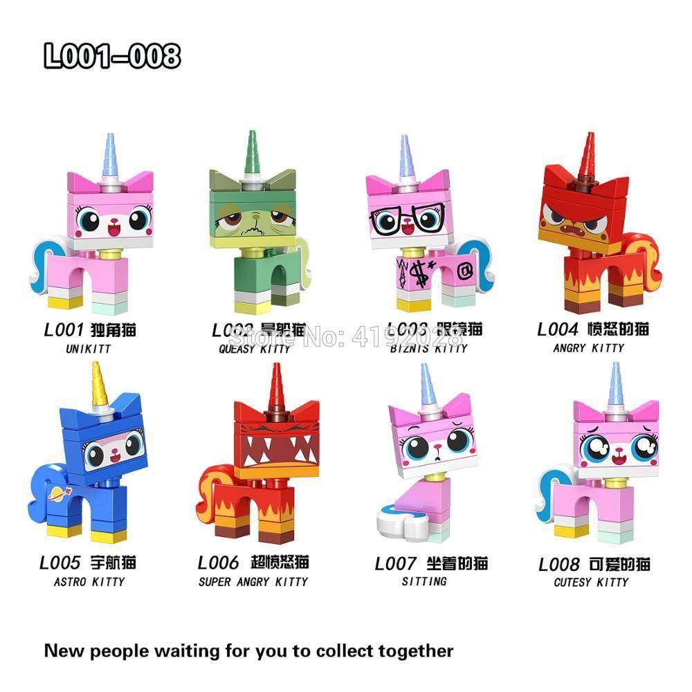 Unikitty Angry Astro Queasy Biznis Kitty 8pcs Lego Minifigure Toys