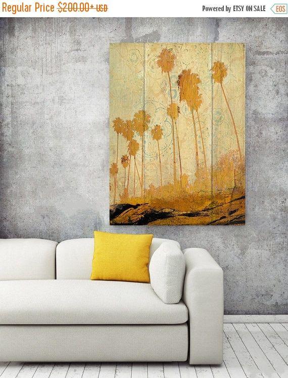 Palms on Beach. Extra Large Yellow Rustic Palms Fine Art Canvas ...