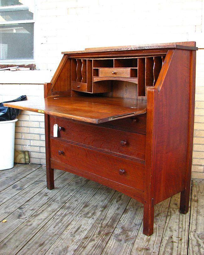 Superb Antique L Jg Stickley Large Drop Front Desk Mission