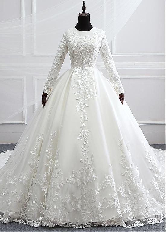 25+ › [596.40] Vintage Tüll & Satin Jewel Ausschnitt Ballkleid Brautkleider mit Royal Train & Spitze Applikationen #tulleballgown