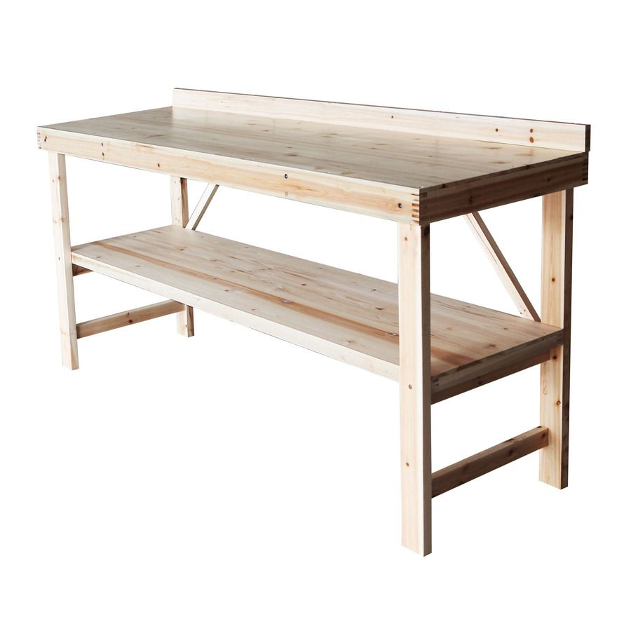 Shop N Scribe 6 Ft Solid Wood Workbench With Storage At Lowes Com Wooden Work Bench Workbench With Storage Midcentury Modern Kitchen Table