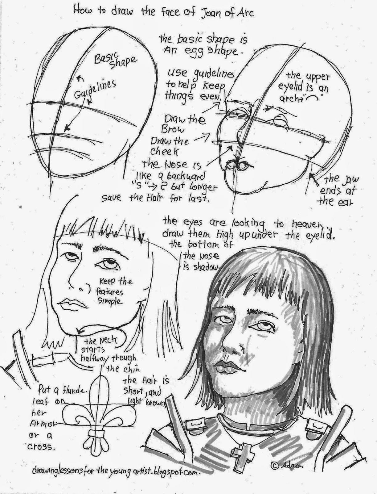 How To Draw The Face Of Joan Of Arc Worksheet See More At