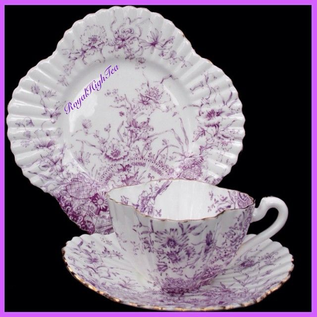 'A basket of flowers' pattern in mauve...c.1890s