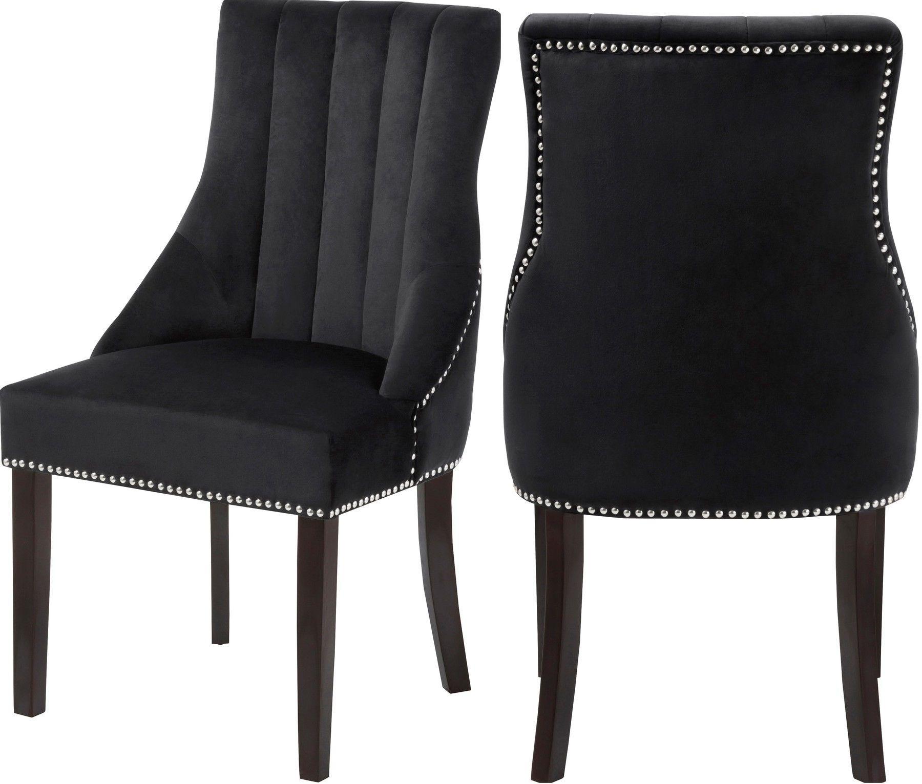 Meridian Oxford Black Velvet Dining Chair W Chrome Nailheads