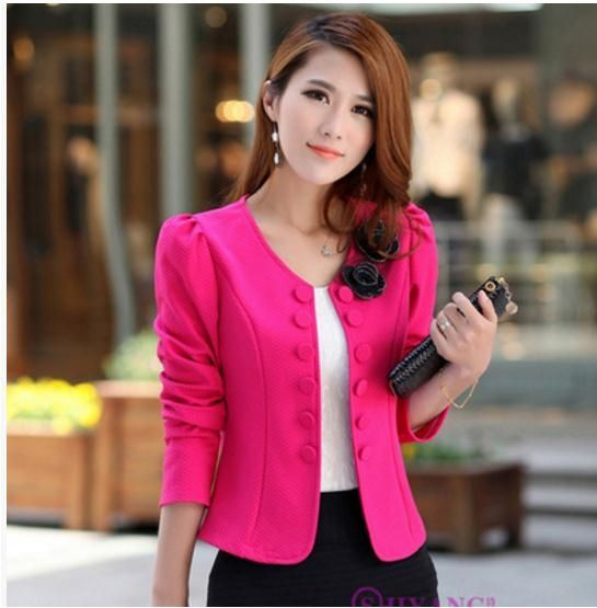 2018 Newest Women Round Neck Long Sleeves Slim Jackets Casual