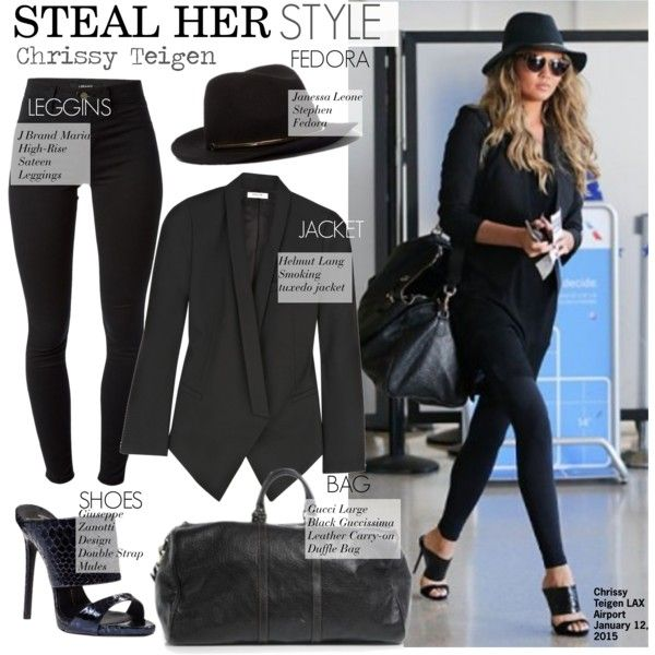 Steal Her Style-Chrissy Teigen by kusja on Polyvore featuring Helmut Lang,  J Brand