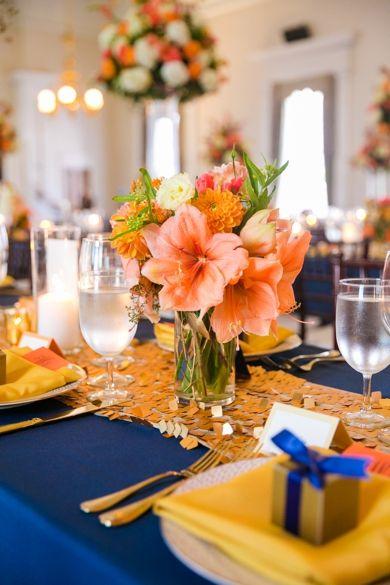 Gold Navy Orange Wedding Decor Dana Cubbage Weddings Charleston Sc