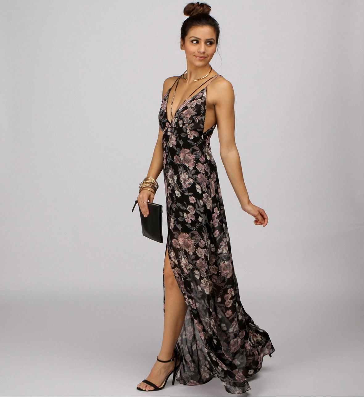 Black Flowers Bloom Maxi Dress at WindsorStore   My Style   Pinterest