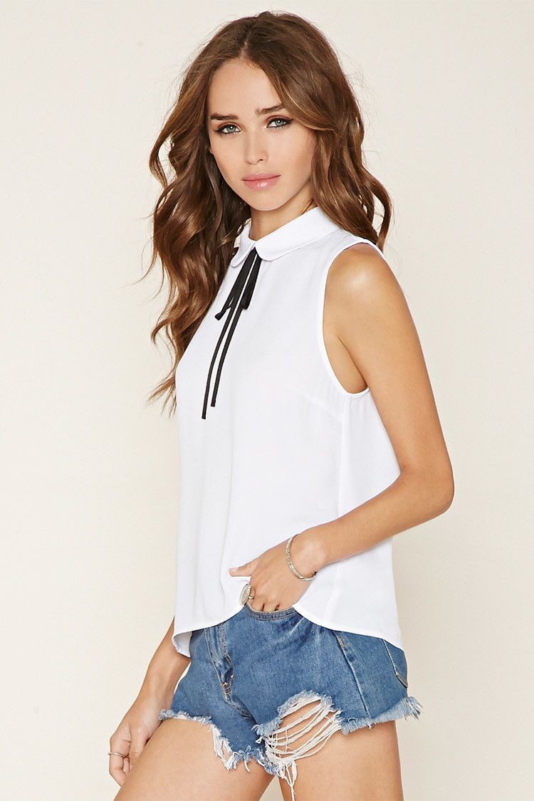 01da29966d3a2d A sleeveless top crafted from a semi-sheer woven featuring a Peter Pan  collar with a self-tie ribbon bow and a buttoned keyhole back.