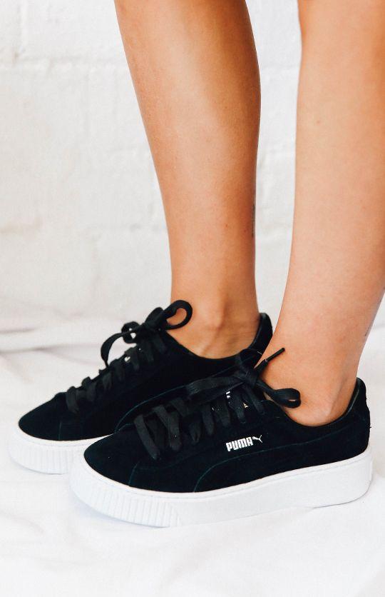 puma basket platform negras
