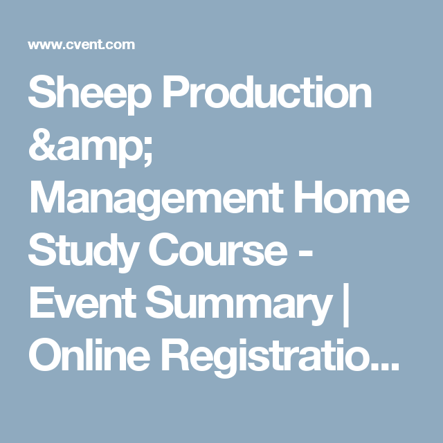 Sheep Production & Management Home Study Course - Event Summary ...