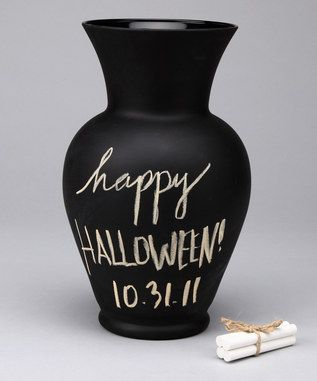 chalkboard paint on a vase for a halloween decor piece!