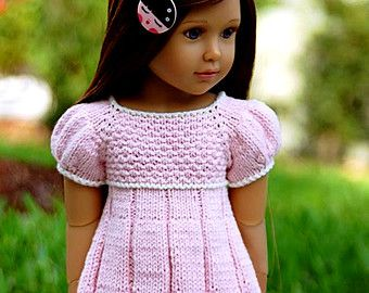 knitted American Girl 18 inch doll Pleated summer by KNITnPLAY