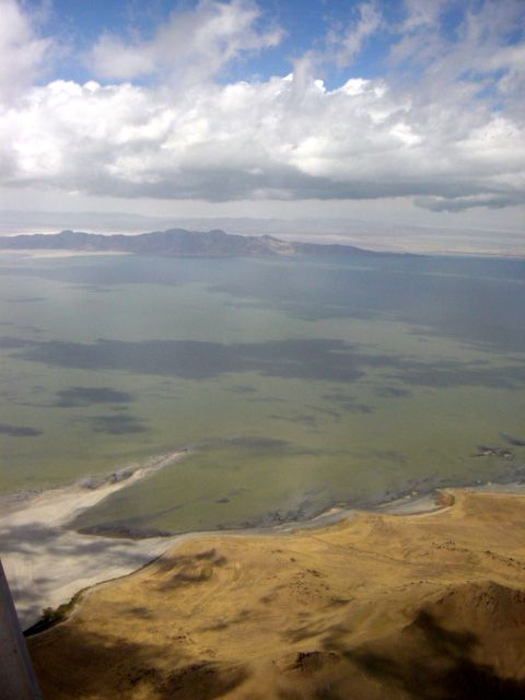 Great Salt Lake from airspace over Salt Lake City