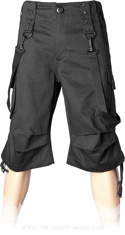 39a38980f4 Gothic bermuda shorts for men, with bondage straps, by Queen of Darkness  Clothing.